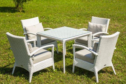 квадратный стол с креслами изскусственный ротанг фото