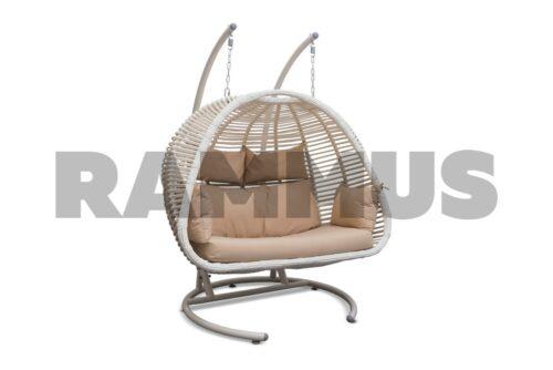 двухместное подвесное кресло из экоротанга фреско премиум RAMMUS