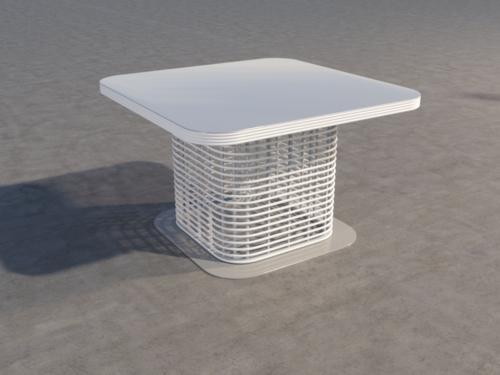 обеденный стол из искусственного ротанга, белый, квадратный фото