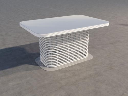 Обеденный стол из искусственного ротанга, белый фото