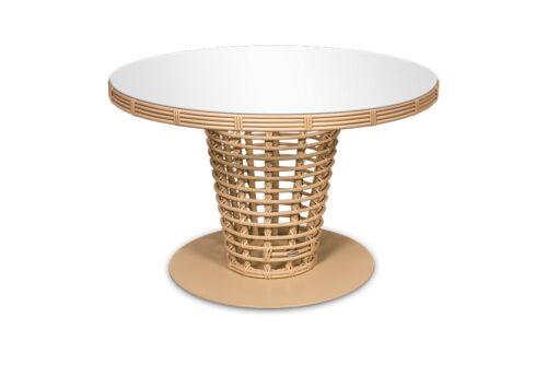 круглый обеденный стол из искусственного ротанга фото